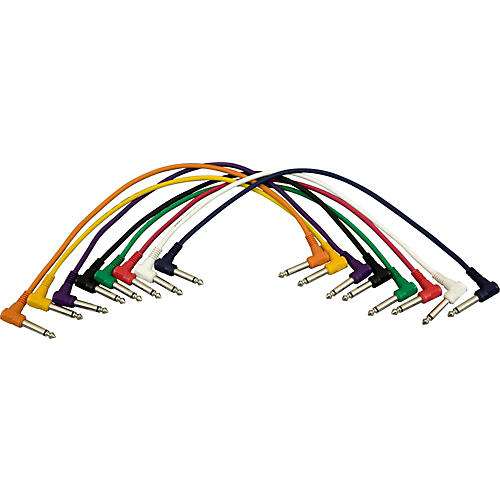 Musician's Gear 1/4 - 1/4 Right Angle Patch Cable 8-Pack-thumbnail