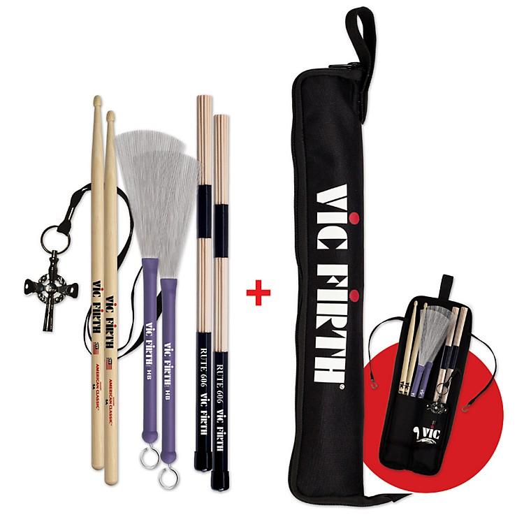 Vic Firth1 Pair 5A, HB, RUTE606, VICKEY w/Free ESB Stick Bag