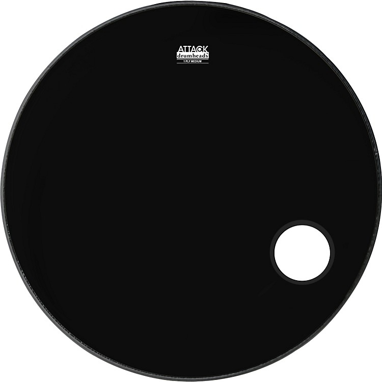 Attack 1-Ply No Overtone Ported Black Drumhead  24