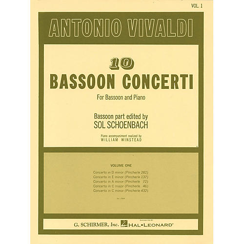 G. Schirmer 10 Bassoon Concerti, Vol. 1 Woodwind Solo Series by Vivaldi Edited by Sol Schoenbach-thumbnail