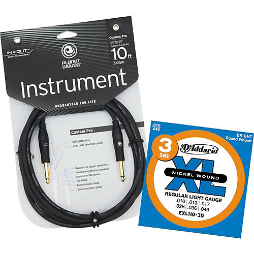 D'Addario Planet Waves 10' Custom Pro Instrument Cable with Free EXL110-3D Strings-thumbnail