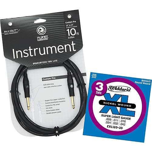 D'Addario Planet Waves 10' Custom Pro Instrument Cable with Free EXL120-3D Strings-thumbnail