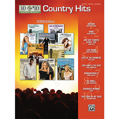 Alfred 10 For $10 Country Hits-2008 Edition (Piano, Vocal, and Chords Book)-thumbnail