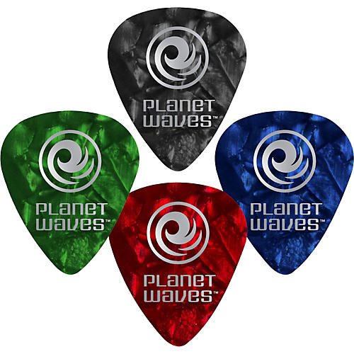 D'Addario Planet Waves 10 Standard Celluloid Picks Heavy Green Pearl