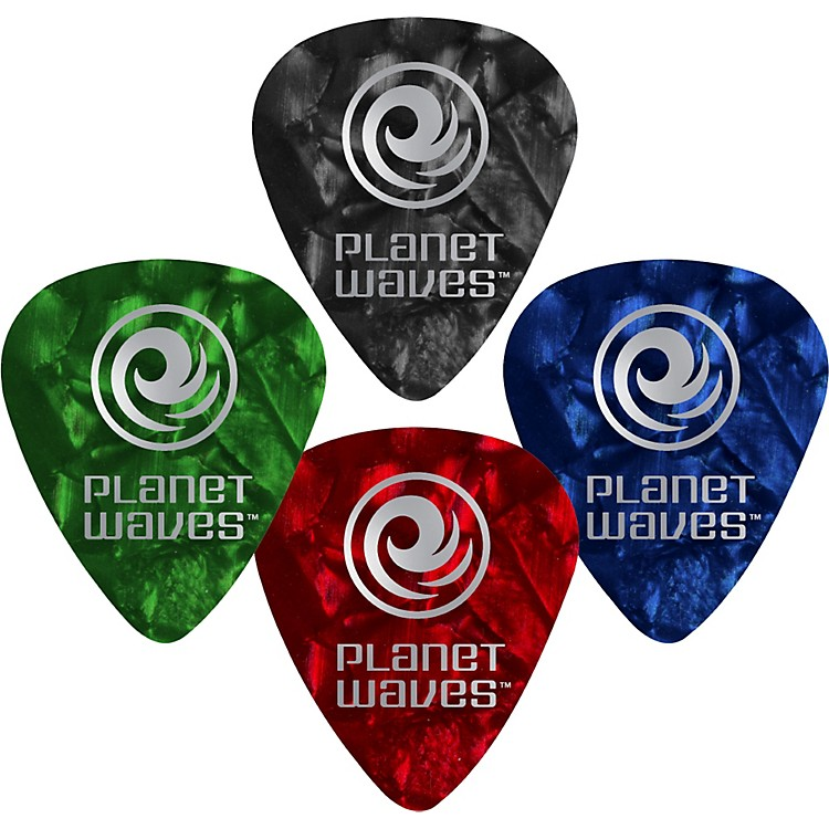 D'Addario Planet Waves 10 Standard Celluloid Picks Light Black Pearl