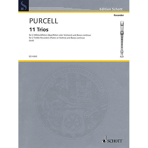 Schott 11 Trios (for 2 Treble Recorders and Basso continuo) Schott Series Softcover  by Henry Purcell-thumbnail