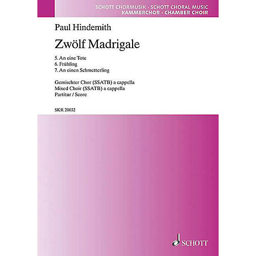 Schott 12 Madrigals, Volume 2 SSATB Composed by Paul Hindemith-thumbnail