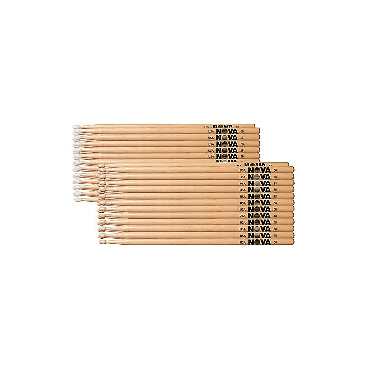 Nova 12-Pair Hickory Drumsticks Nylon 5A