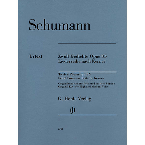 G. Henle Verlag 12 Poems Op. 35, Set of Songs on Texts by Kerner Henle Music Softcover by Schumann Edited by Kazuko Ozawa-thumbnail