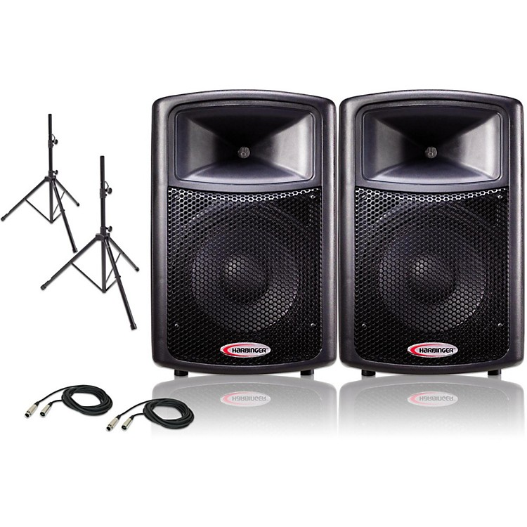 Harbinger 12 Powered PA Speaker Pair with Stands and Cables