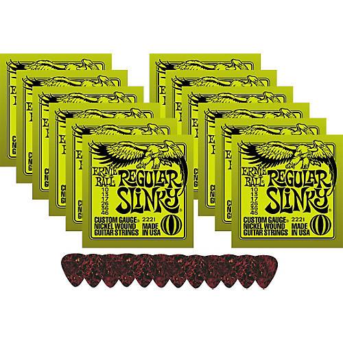 Ernie Ball 12 Sets 2221 Regular Slinky Strings with Picks-thumbnail