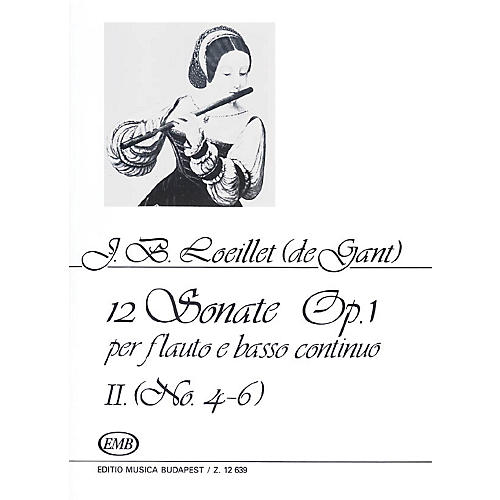 Editio Musica Budapest 12 Sonatas for Recorder (Flute) and Basso Continuo Op. 1 Volume 2 EMB by Jean Baptiste (de Gant) Loeillet-thumbnail