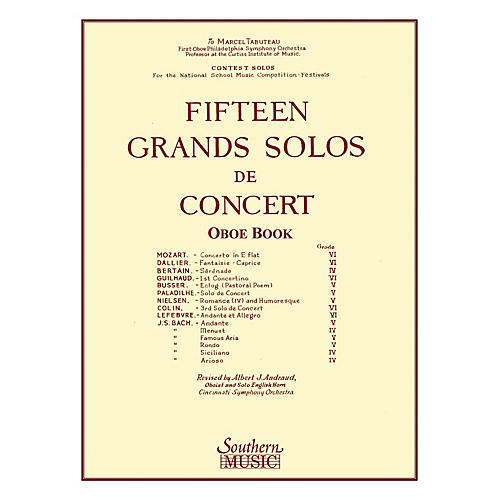 Southern 15 Grands Solos de Concert (Oboe) Southern Music Series Arranged by Albert Andraud-thumbnail