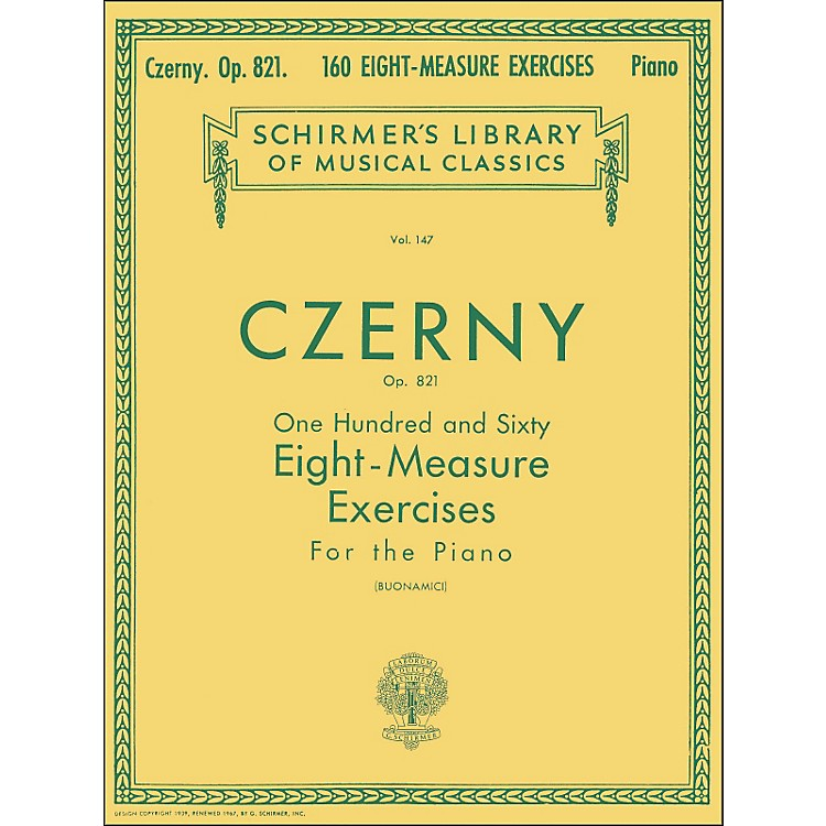 G. Schirmer 160 Eight-Measure Exercises Op 821 Piano By Czerny