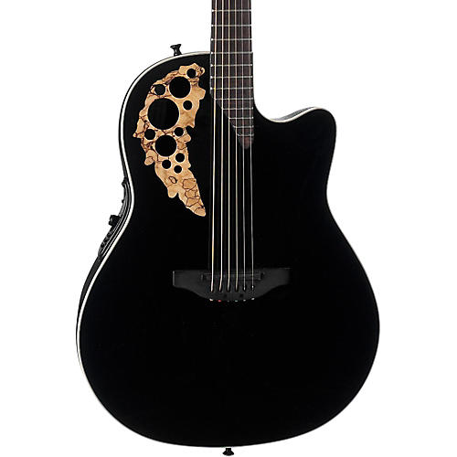 Ovation 1868TX Elite Spalted Maple Acoustic-Electric Guitar Gloss Black