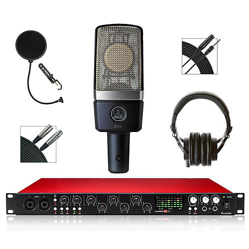 Focusrite 18i20 Recording Bundle with AKG Mic and Audio-Technica Headphones-thumbnail