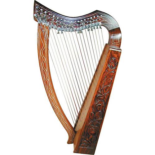 CasaPercussion 19-String Carved Rosewood/Mahogany Harp-thumbnail