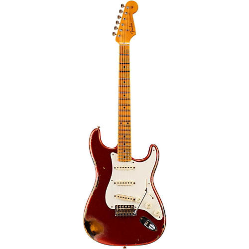 Fender Custom Shop 1957 Heavy Relic Stratocaster Electric Guitar Red Sparkle over 2-Tone Sunburst Maple