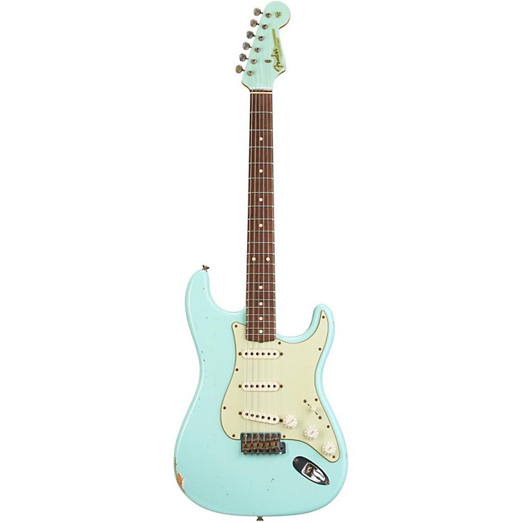 Fender Custom Shop 1960 Relic Stratocaster with Matching Headstock Electric Guitar Surf Green