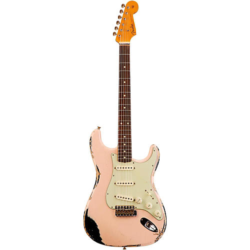 Fender Custom Shop 1962 Heavy Relic Stratocaster Electric Guitar Faded Shell Pink over Black Rosewood
