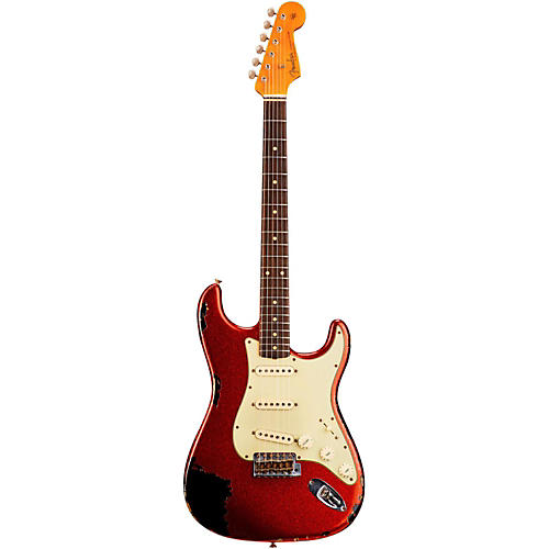 Fender Custom Shop 1962 Heavy Relic Stratocaster Electric Guitar Red Sparkle over Black Rosewood