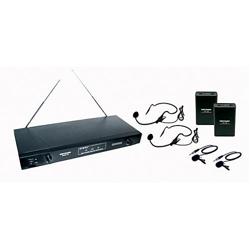Gem Sound 2-Channel VHF Wireless System with 2 Headsets and 2 Lapel Mics CD