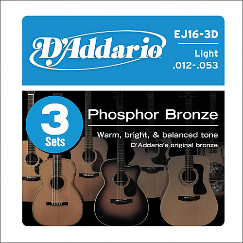 D'Addario 2-EJ16 Acoustic Guitar Phosphor Bronze Light gauge with Free EXP16