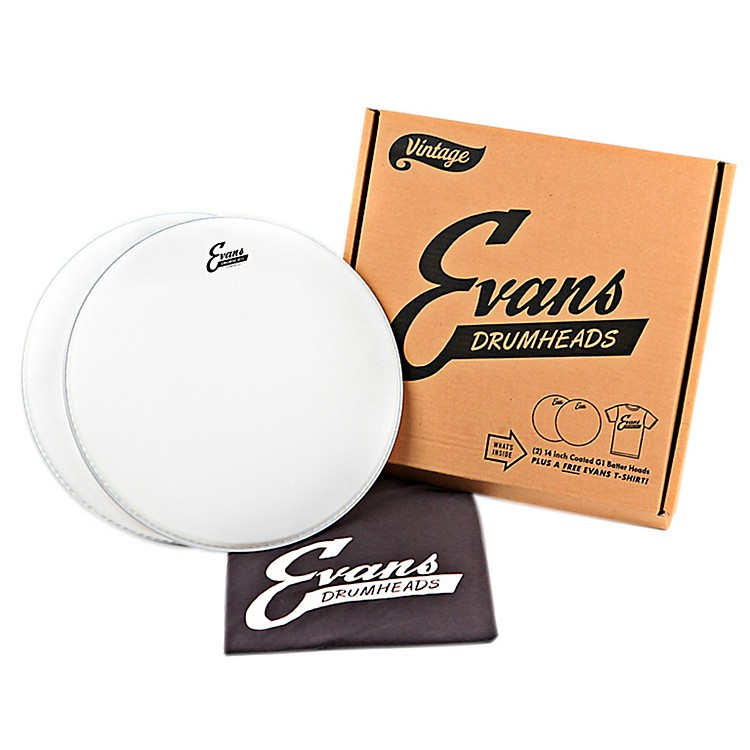 Evans 2 Vintage Logo Coated Snare Drumheads with Vintage T-Shirt