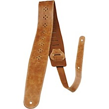 "Perri's 2.5"" Distressed Leather Guitar Strap with Perforated Vents and Soft Leather Back Tan"