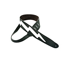"Perri's 2.5"" Italian Leather Guitar Strap With Lightning Bolt"