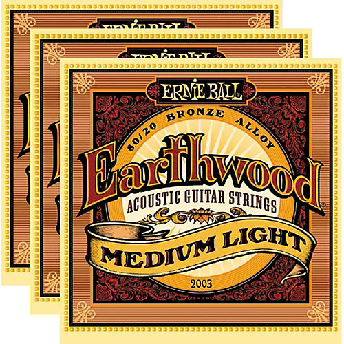 Ernie Ball 2003 Earthwood 80/20 Bronze Medium Light Acoustic Strings (3-Pack)-thumbnail