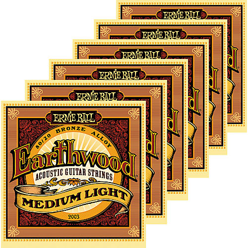Ernie Ball 2003 Earthwood 80/20 Bronze Medium Light Acoustic Strings 6 Pack