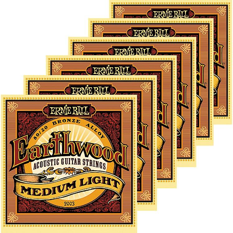 Ernie Ball2003 Earthwood 80/20 Bronze Medium Light Acoustic Strings 6 Pack