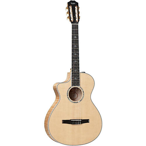 Taylor 2014 612ce-N-L Maple/Spruce Nylon String Grand Concert Left-Handed Acoustic-Electric Guitar-thumbnail