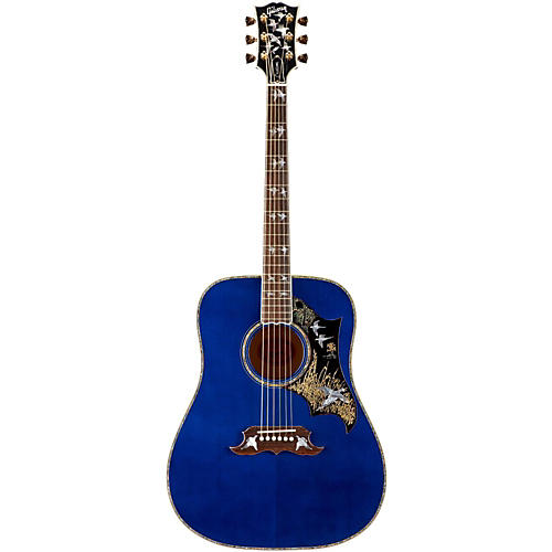 Gibson 2015 Limited Edition Doves In Flight Square Shoulder Dreadnought Acoustic-Electric Guitar Trans Blue