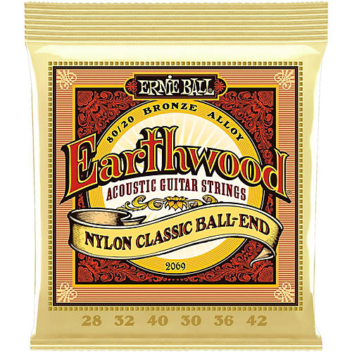 Ernie Ball 2069 Earthwood 80/20 Bronze Folk Nylon Ball End Acoustic Guitar Strings-thumbnail