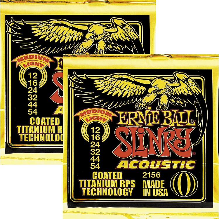 Ernie Ball 2156 Coated Slinky Acoustic Strings Medium Lite 2 Pack