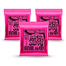 Ernie Ball 2223 Nickel Super Slinky Pink Electric Guitar Strings 3 Pack