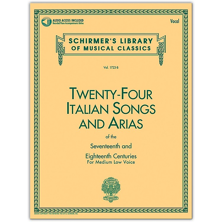G. Schirmer 24 Italian Songs & Arias Medium Low Book/CD