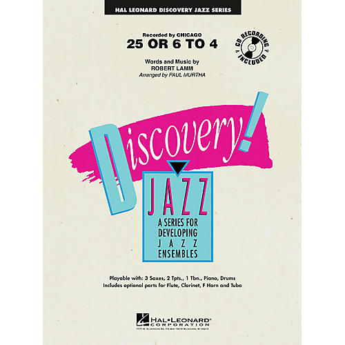 Hal Leonard 25 or 6 to 4 Jazz Band Level 1-2 by Chicago Arranged by Paul Murtha
