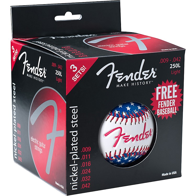 Fender 250L Electric Guitar Strings 3-Pack with Free Baseball