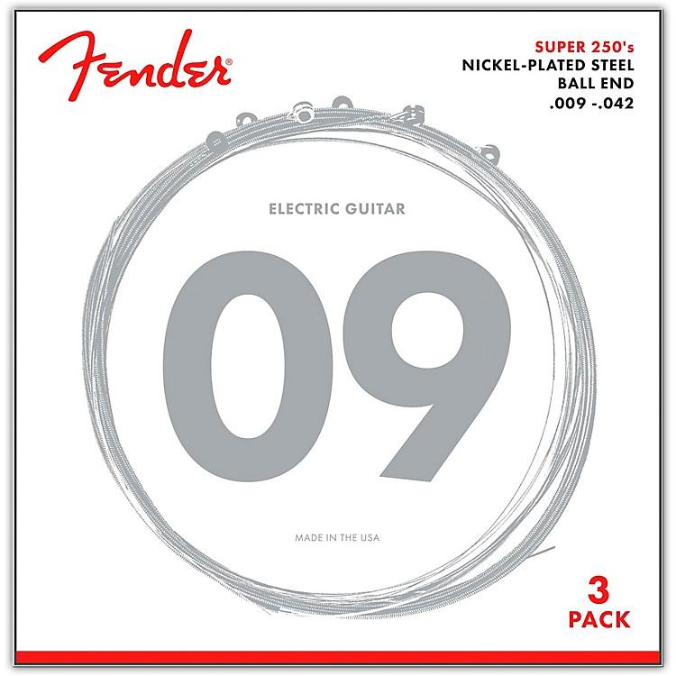 Fender250L Super 250 Nickel-Plated Steel Electric Guitar Strings 3-Pack