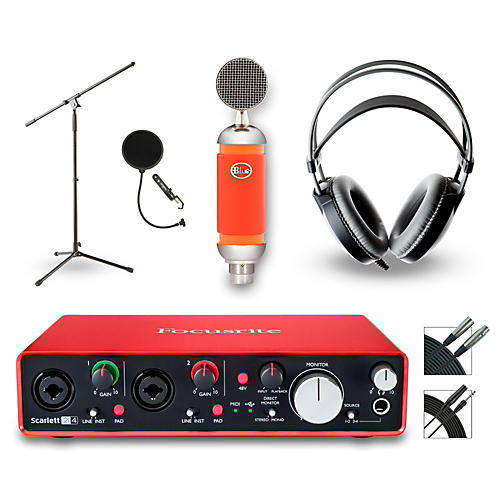 Focusrite 2i4 Recording Bundle with Blue Mic and AKG Headphones