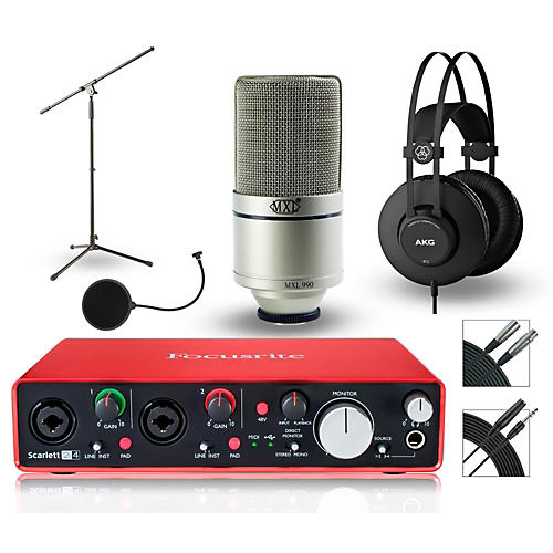Focusrite 2i4 Recording Bundle with MXL Mic and AKG Headphones