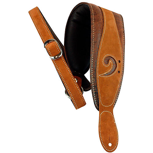 lm products 3 leather bass clef padded guitar strap brown musician 39 s friend. Black Bedroom Furniture Sets. Home Design Ideas