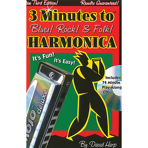 Music Sales 3 Minutes to Blues, Rock & Folk Harmonica Music Sales America Series Softcover with CD by David Harp-thumbnail
