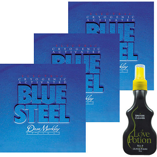 Dean Markley 3-Pack 2556 Blue Steel Electric Guitar Strings with Free Love Potion