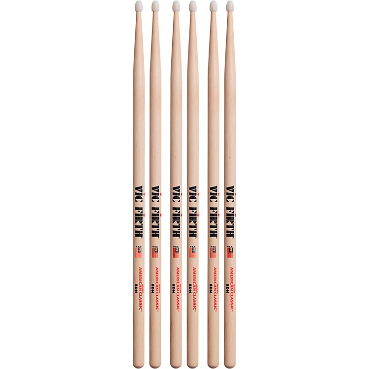Vic Firth 3-Pair American Classic Hickory Drumsticks Nylon 8D