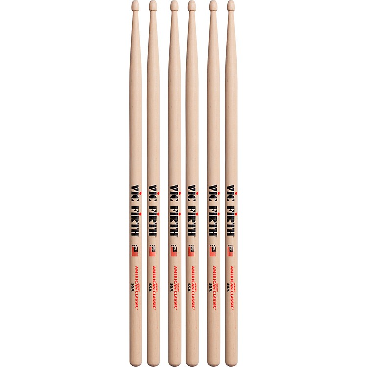 Vic Firth 3-Pair American Classic Hickory Drumsticks Wood 55A