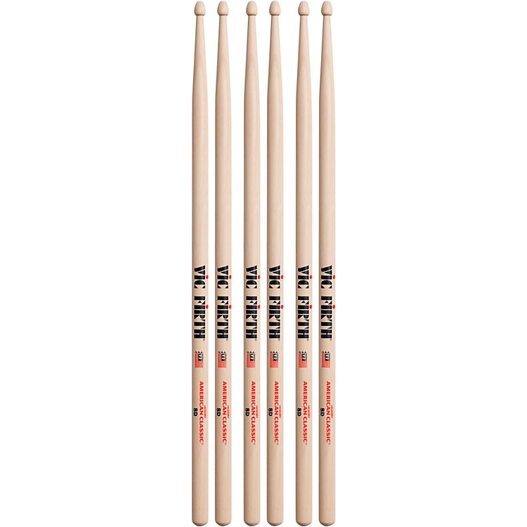 Vic Firth 3-Pair American Classic Hickory Drumsticks Wood 8D